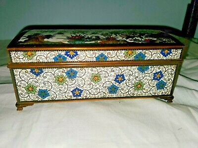 "Antique Japan Meiji Period Cloisonne Enamel Box With ""Rare"" Removable Tray Lid"