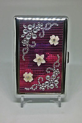 RYO Pink Double Sided Metal Handcrafted Stones 100s Size Cigarette Case