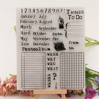 To do list Month Day Silicone Clear Rubber Stamp Cling Diary Scrapbooking DIY EW
