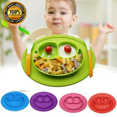 Cute Silicone Happy Baby Kids Suction Table Food Tray Placemat Plate Bowl Mat UK
