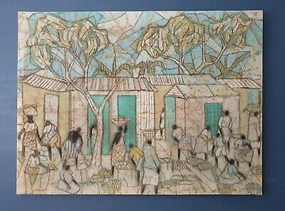Huge Painting of African Market Scene on Stretched Fabric with Wooden Frame