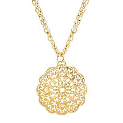 Italian-Made Filigree Medallion Pendant in 18K Gold-Plated Bronze, 20""