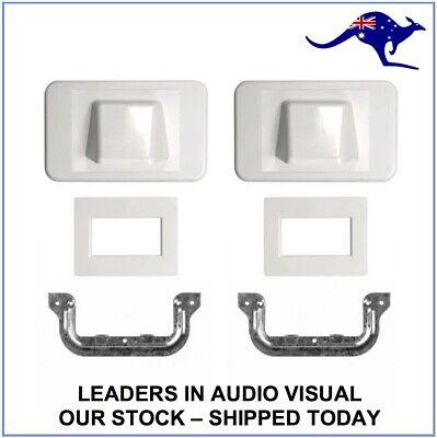 2x Combination Flush & Bullnose Cable Management Brush Wall Plate White + C Clip