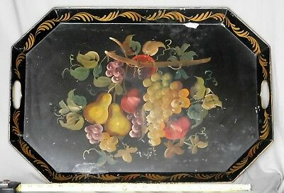 Antique Large Tole Tray Victorian Hand Painted Gilded Flower Polychrome tin gilt