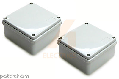 2 x Junction box 100mm x 50mm waterproof IP56 plastic PVC adaptable enclosure
