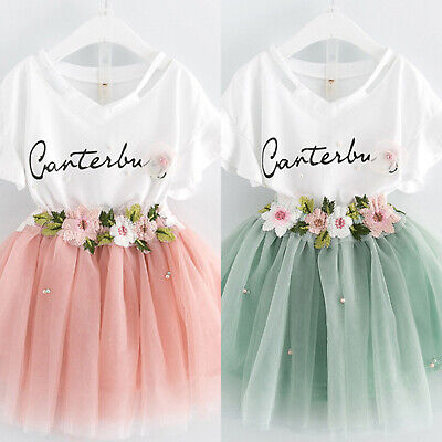 2Pcs Kids Girls Birthday Dress Set Summer T-Shirt Tops Tutu Skirt Party Clothes