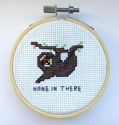 Sloth Animal Support Cross Stitch Kit For Beginners Pattern Card Gift Idea