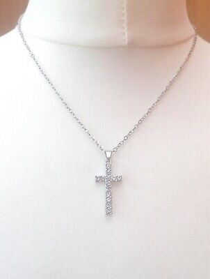 Crystal Crucifix Cross & Chain Necklace Silver Tone Metal Ladies Child Gift Box
