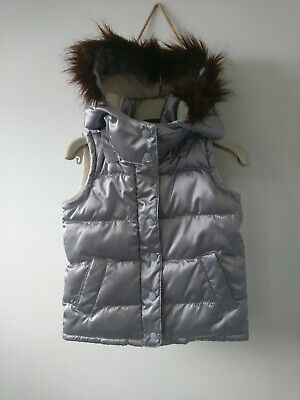 Gap girl detachable hood fleece lined silver gilet body warmer 4 years VGC