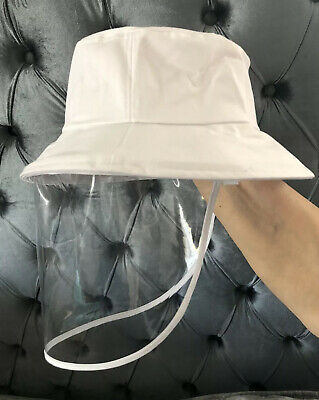 Fisherman Cap Anti Saliva Protective White Bucket Hat + Clear Face Shield Vel