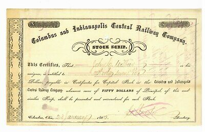 Columbus and Indianapolis Central Railway. Stock Scrip Certificate. 1865