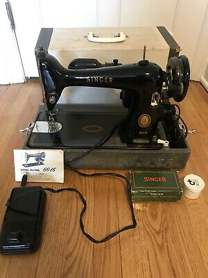 Vintage 1954 Singer Sewing Machine 66-16 In Case Portable, Attachments & Manual