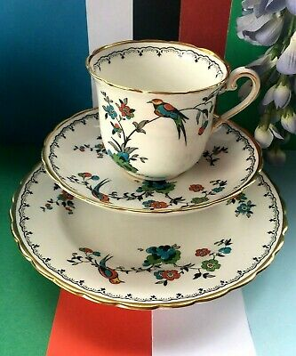 Art Deco, Vintage Tuscan China Bird of Paradise Tea Set Trio,Teacup,Saucer,Plate