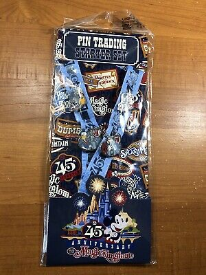 NEW Disney World Magic Kingdom 45th Anniversary Pin Trading Starter Set Lanyard