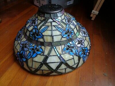 Vintage Custom Stained Glass Lamp Shade w Jewels Iridescent Swirl Flowers Blues