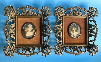 "Vintage Pair (2) ""A Cameo Creation"" Ornate Plastic Framed~Gainsborough/Reynolds"