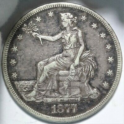 1877-S Trade Silver Dollar Choice Extremely Fine XF San Francisco Mint $1 Coin