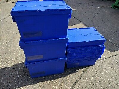 36 x 65ltr Blue Heavy Duty Plastic Storage Tote Boxes Moving 60 x 40 x 35cm