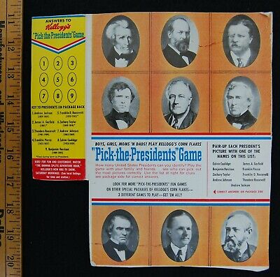 [ 1950s - 1960s Kellogg's Vintage Cereal Box - Pick The Presidents Game ]