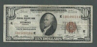 1929 United States $10 Federal Reserve Note Brown Seal Bank of Richmond, VA S208