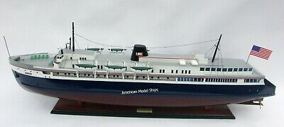 """SS Badger Passenger & Vehicle Ferry Model 41"""" Handcrafted Wooden Scale 1/120"""