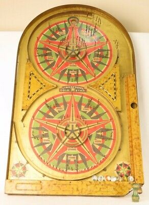 """Lindstrom's Gold Star 'Bagatelle' Pinball Game Working Condition 14"""" x 25"""" w peg"""