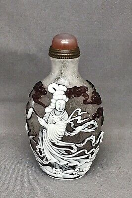Chinese Frosted Glass Snuff Bottle With the Goddess of the Eastern Sea