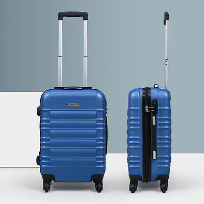 "20"" ABS Carry On Luggage Hardside Nested Spinner Trolley Travel Suitcase Blue"