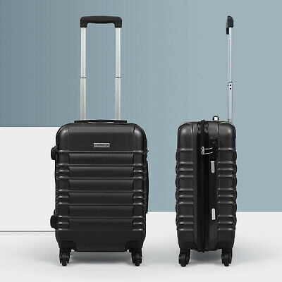 "20"" ABS Carry On Luggage Hardside Nested Spinner Trolley Travel Suitcase Black"