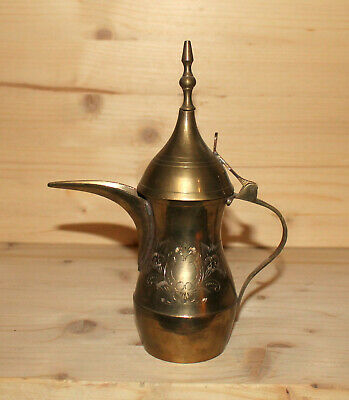 Vintage Middle East floral engraved brass coffee teapot pitcher jug with spout