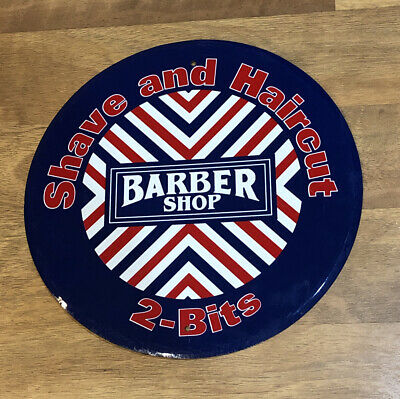 """Vintage Style Barber Shop Shave And Haircut 2 Bits Round Tin/Metal Sign 12"""""""