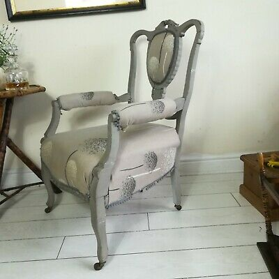 Antique Original Early Victorian Open Armchair From Solid Mahogany Project