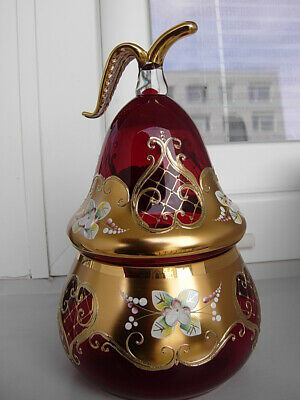 UNUQUE LUXURY  RUBY RED   BOHEMIAN CZECH GLASS  pear  BOWL . 24kt gold*