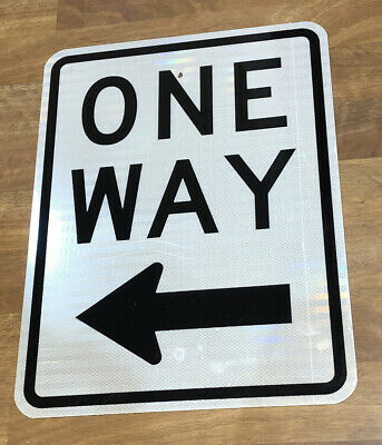 "Authentic Retired ""One Way Arrow"" Metal Highway Street Sign 24""X18"""