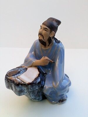 Vintage Chinese Mudman Shiwan Figurine of Writer Poet Sitting  Man Statue