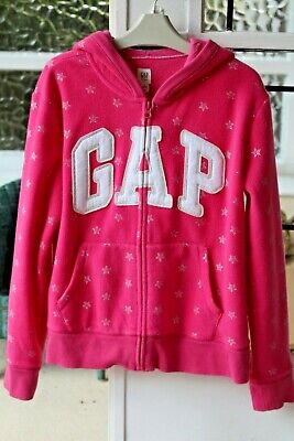 Girls Bright Pink Silver Stars Gap Logo Zip Up Hoodie size XXL (14-16 years)