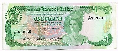 1987 BELIZE ONE DOLLAR NOTE - p46c