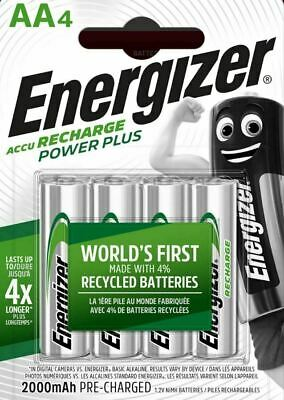 NEW 4 x AA ENERGIZER RECHARGE POWER PLUS 2000mAh NiMH PRE-CHARGED BATTERIES HR6