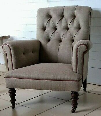 Beautiful Antique Button Back Chair / Armchair