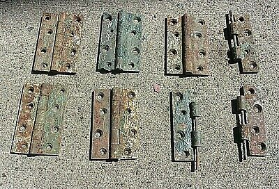 Lot Of Antique Cast Iron 4 X 2 1/2 Inch Shutter / Door Hinges Rust And Old Paint