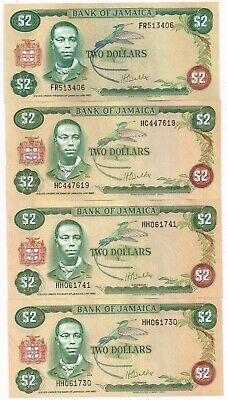 LOT OF FOUR 1977-81 JAMAICA 2 DOLLARS NOTES - p60b