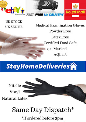 100, 20, 10 Disposable Medical gloves Nitrile Vinyl Powder & Latex free mechanic