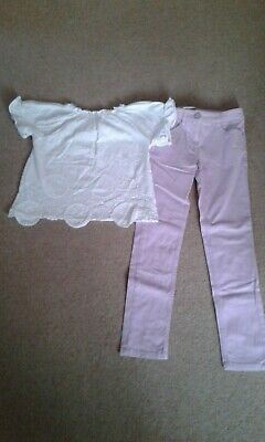 Next Girls purple jeans with matching white t-shirt age 8/9