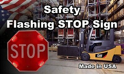 """24""""  Safety Flashing Light LED STOP Sign Warehouse Forktruck Made in USA"""