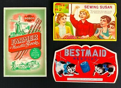 Vintage Lot of 3 Travel Sewing Needle Kit Books Farmers Windmill Cats Susan MCM
