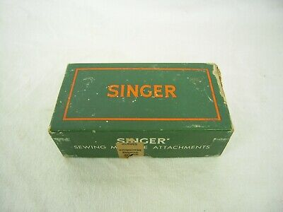 COLLECTIBLE green cardboard Singer sewing machine accessories / attachment box
