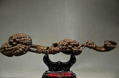 Home Decor Collectible Chinese Agarwood Hand Carved Ganoderma Ruyi Statues
