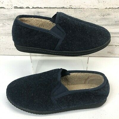 Woolrich Mens Wool Blend Moccasin Slippers House Shoes Navy Size 9
