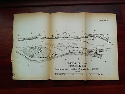 1880 Sketch Map Mississippi River Horsetail Bar Condition of Works IL MO