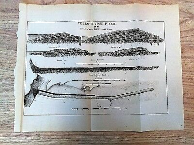 1882 Sketch Diagram of Yellowstone River Details Upper Dam at Edgerly's Island